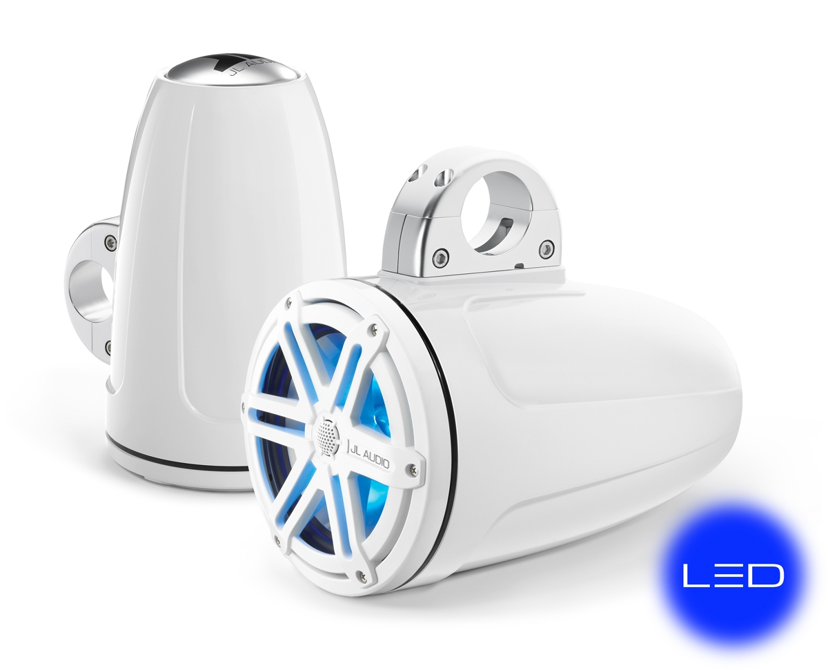 JL Audio MX770-ETXv3-SG-WLD-B: 7.7-inch (196 mm) Enclosed Tower Coaxial System, White Sport Grilles with Blue LED