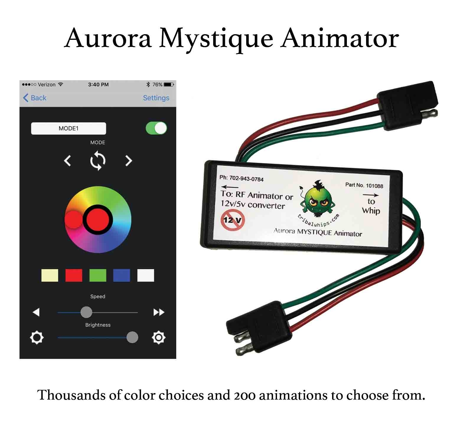 Tribal Whips Aurora Mystique LED Whip Animator