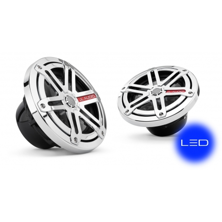 JL Audio MX650-CCX-SG-CLD-B: 6.5-inch (165 mm) Cockpit Coaxial System, Chrome Sport Grilles with Blue LED