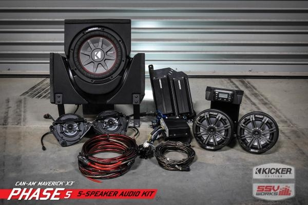 SSV Works CAN-AM MAVERICK X3 COMPLETE KICKER 5 SPEAKER PLUG-AND-PLAY SYSTEM