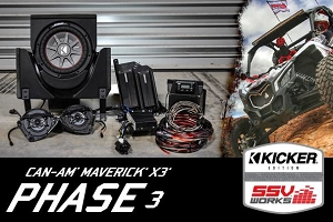 SSV Works CAN-AM MAVERICK X3 COMPLETE KICKER 3 SPEAKER PLUG-AND-PLAY SYSTEM