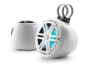 JL Audio 6.5-inch (165 mm) Enclosed Coaxial System with RGB LED Lighting, Gloss White Enclosure, Gloss White Sport Grilles