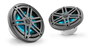 JL Audio 6.5-inch (165 mm) Marine Coaxial Speakers, Gunmetal Sport Grilles with RGB LED Lighting