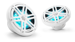 JL Audio 6.5-inch (165 mm) Marine Coaxial Speakers, Gloss White Sport Grilles with RGB LED Lighting