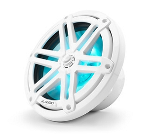 JL Audio 7.7-inch (196 mm) Marine Coaxial Speakers, White Sport Grilles with RGB LED Lighting