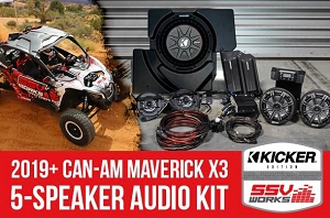 SSV Works CAN-AM MAVERICK X3 2019 AND UP COMPLETE KICKER 5 SPEAKER PLUG-AND-PLAY SYSTEM