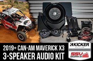 SSV Works - CAN-AM MAVERICK X3 2019 AND UP COMPLETE KICKER 3 SPEAKER PLUG-AND-PLAY SYSTEM
