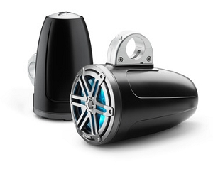 JL Audio 7.7-inch (196 mm) Enclosed Tower Coaxial System, Satin Black Enclosure, Gunmetal Sport Grille with RGB LED Lighting